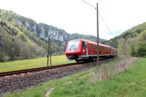 Regiozug vor Donaufelsen
