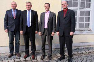 Dezernent Michael Guse, OB Michael Beck, Bürgermeister Jörg Kaltenbach, Verbandsdirektor Marcel Herzberg